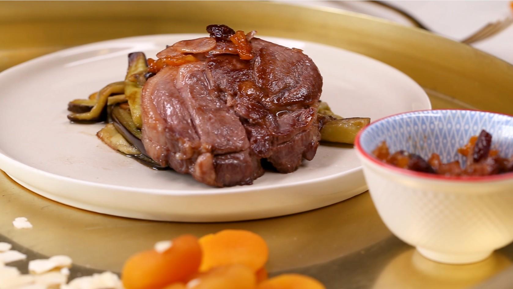 Steak d'agneau St George aux amandes et aubergines